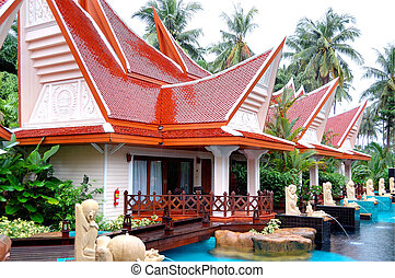 Outdoor swimming pool at the luxury villa, Koh Chang,...