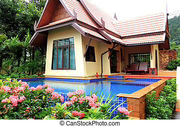 Outdoor swimming pool at the luxury villa, Koh Chang, Thailand