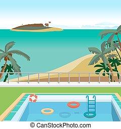 Outdoor swimming pool on the beach in the tropics. Sea landscape summer beach, pool, palms, island. Vector cartoon flat illustration.