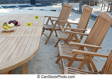 Outdoor teak garden furniture set with Oval table and armchairs