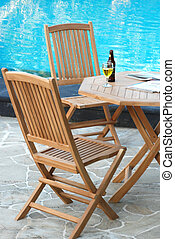 Outdoor teak garden furniture set with table and chairs