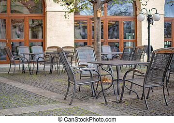 outdoor terrace at the restaurant with sitting