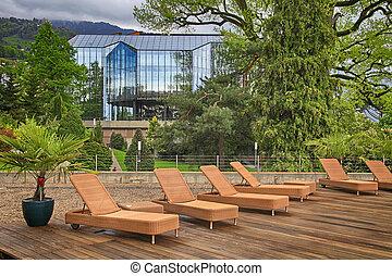 outdoor terrace in hotel, Montreux, Switzerland. - outdoor...