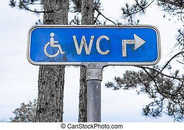 Outdoor toilet sign in blue color