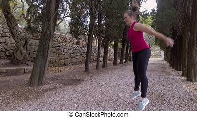 Athlete Doing Cardio Jumping Exercises - Outdoor Training....