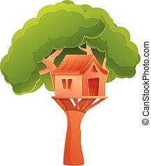 Outdoor treehouse icon, cartoon style - Outdoor treehouse ...