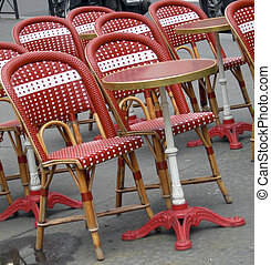 typical outdoor cafe tables chairs Paris Frane Latin Quarter