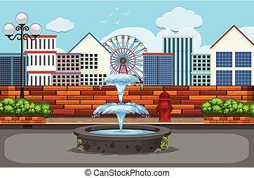 Outdoor urban town scene
