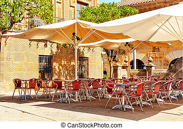 Outdoor view in one of cozy cafe. Barcelona. - Outdoor view ...