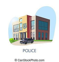 Outdoor view on police department building. - Isometric view...