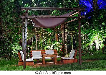 outdoor., wieczorny, patio, romantyk