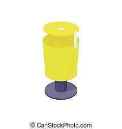 Outdoor yellow bin icon, cartoon style