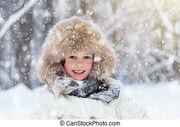 outdoors., 遊び, 子供, 雪, winter., 子供