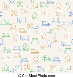 Outdoors activity seamless pattern