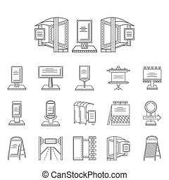 Outdoors advertisement line vector icons