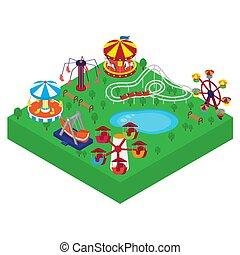 outdoors, atrakcje, park, rozrywka, illustration., różny, wałek, entertainment., ferris, huśta się, carousels, rodzina, wektor, isometric, koło, dzieci, coasters.