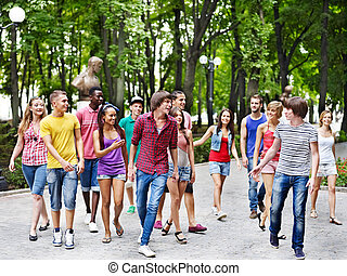 outdoors., gens, groupe