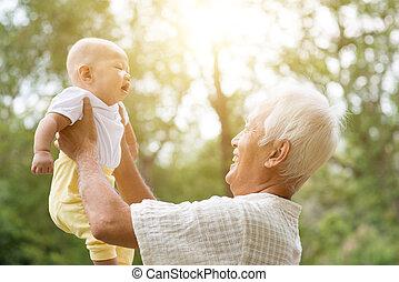 outdoors., gioco, nipote, nonno