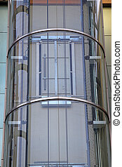 outdoors glass elevator