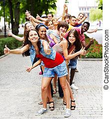 outdoors., grupo, pessoas