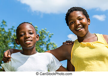 outdoors., irmã, feliz, irmão, africano