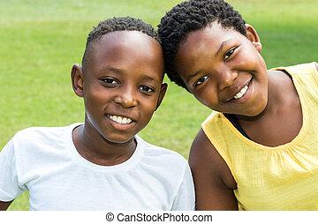 outdoors., niños, cabezas junto, africano