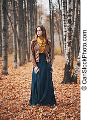 Outdoors portrait of beautiful young girl.