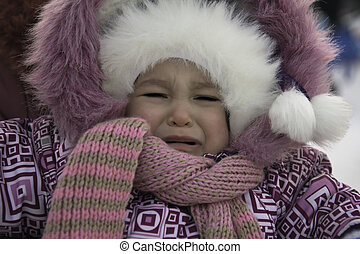 Outdoors portrait of sad little girl in winter