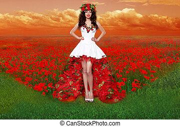 outdoors, portret, od, piękny, młoda kobieta, chodząc, w, czerwony podniosłem się, strój, otworzony, kwiaty, field., fason, sztuka, photo., tradycyjny, ukraina, kostium
