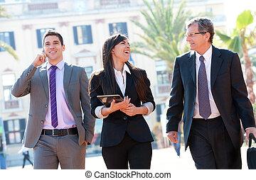 outdoors., reunião, equipe negócio