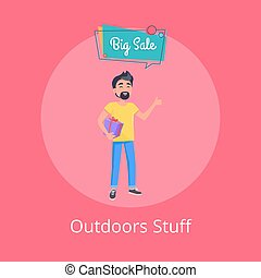 Outdoors Stuff Poster with Man Holding Gift Box