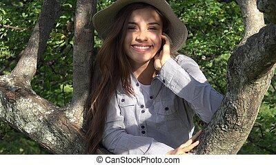 Outdoors Teen Girl In Park