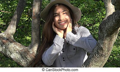 Outdoors Teen Girl In Park With Tree