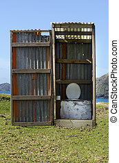 Outdoors toilet - An outdoors toilet on the beach in New...