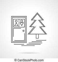 Outdoors toilet flat line design vector icon