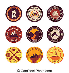 Outdoors tourism camping flat badges set of road mountain...