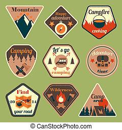 Outdoors tourism camping flat badges set