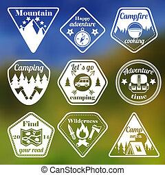 Outdoors tourism camping flat emblems set of mountain trees...