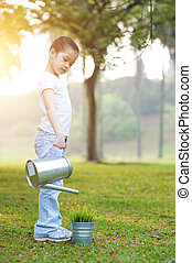 outdoors., watering, kind, plant, aziaat