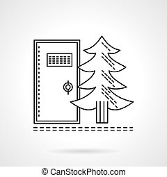 Outdoors wc flat line vector icon