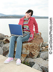 Outdoors with Laptop