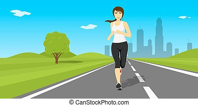 outdor running woman - Picture of young pretty woman running...