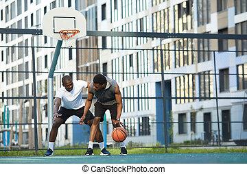 outdors, lek, basketboll