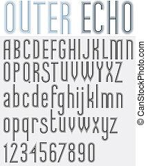 """""""outer, echo"""", retro, listrado, arredondado, font."""