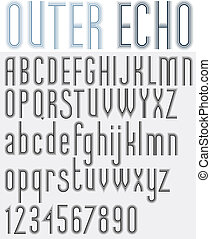 """OUTER ECHO"" retro striped rounded font. - ""OUTER ECHO""..."
