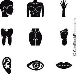 Outer part of body icons set, simple style