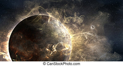 outer planet wrapped in a cosmic cloud, 3d illustration