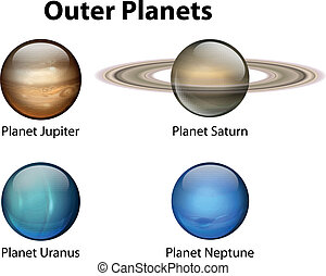 Outer Planets - Illustration showing the outer planets