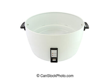 Outer pot of electric rice cooker on white background.