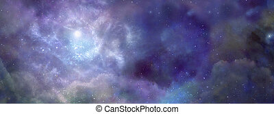 Blue background deep space with stars planets and a nebular